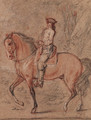 A gentleman wearing a tricorn hat on horseback in a landscape A study for an equestrian portrait of King Louis XV - Charles Parrocel