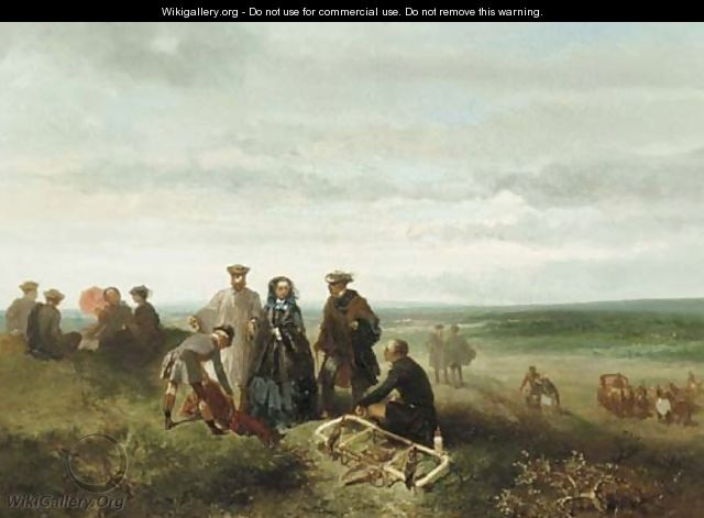 An elegant company during a falcon hunt - Charles Rochussen