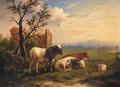 Cattle With A Goat In A Meadow - Charles Desan
