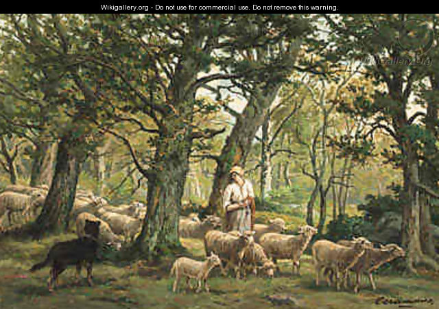 Shepherdess and Her Flock - Charles Ferdinand Ceramano