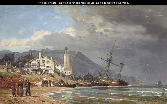 Unloading vessels on the Normandy coast - Charles Euphraisie Kuwasseg