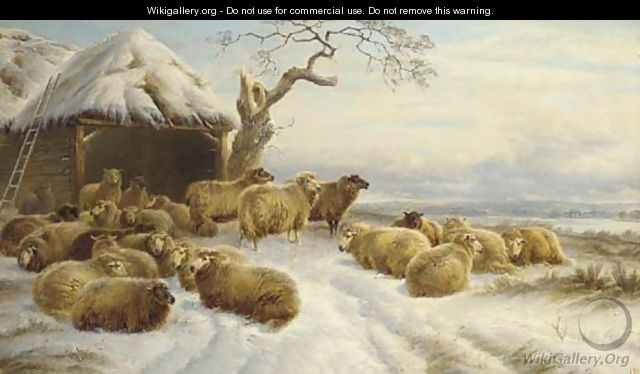 Sheep in a winter landscape - Charles Jones