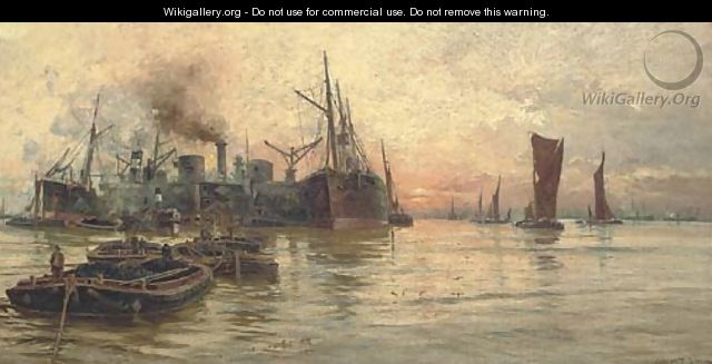 The bustling Thames at dusk - Charles John de Lacy