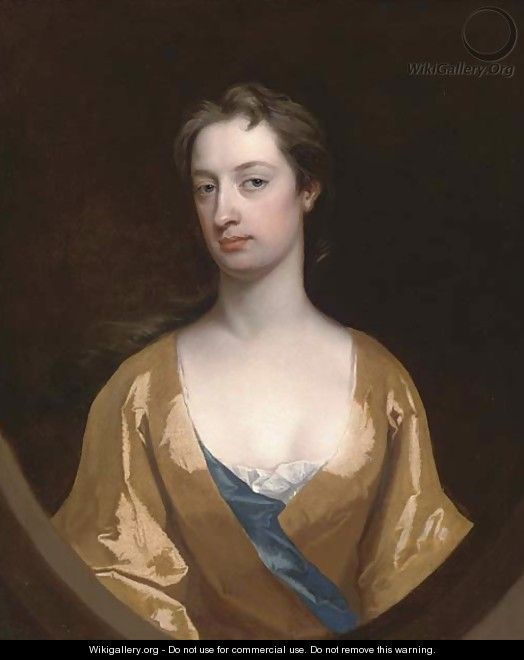Portrait of Mrs Dunbar, half-length, in a yellow gown, feigned half oval - Charles Jervas