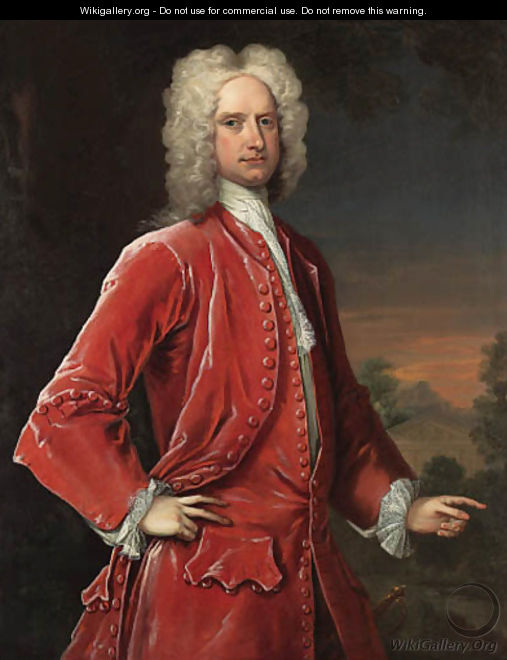 Portrait of a gentleman, three-quarter-length, in red coat and waistcoat, with a classical landscape beyond - Charles Jervas