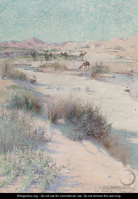 The camel master resting in the shade - Charles James Theriat