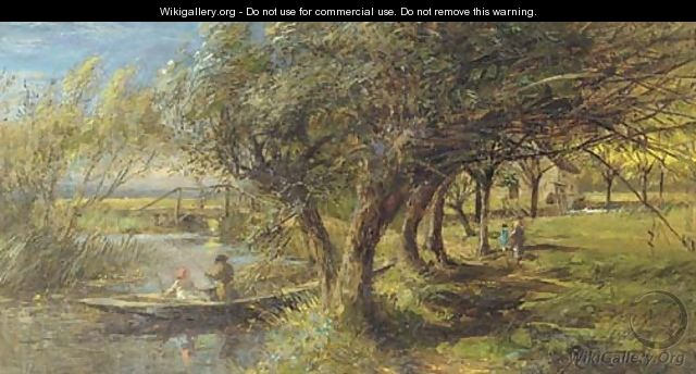 Fishing in a punt - Charles James Lewis