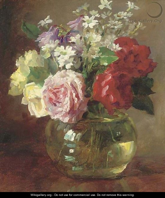 Roses And Daisies In A Glass Vase Catherine M Wood Wikigallery