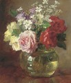 Roses and daisies in a glass vase - Catherine M. Wood