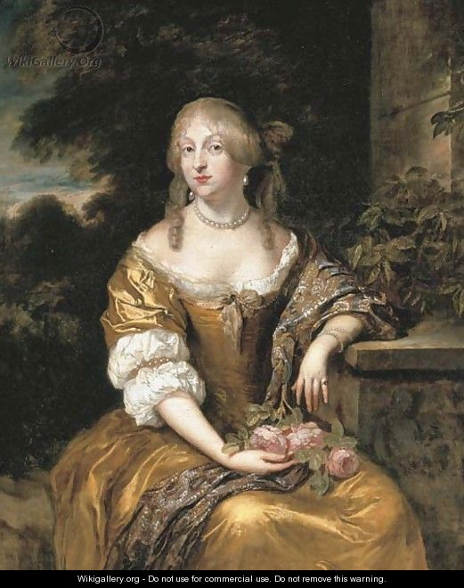 Portrait of a lady, three-quarter-length, in a gold satin gown, seated in a garden - Caspar Netscher