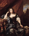 Portrait of a lady, seated small three quarter length on a draped balcony, wearing a grey silk dress with lace chemise, blue wrap and pearl necklace, - Caspar Netscher
