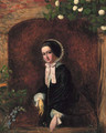 A portrait of a young woman, small three-quarter-length, in a black dress and bonnet, at a casement - Charles Baxter