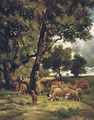 The Shepherdess and Her Flock - Charles Émile Jacque