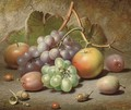 Grapes, apples, plums and acorns on a mossy bank - Charles Archer