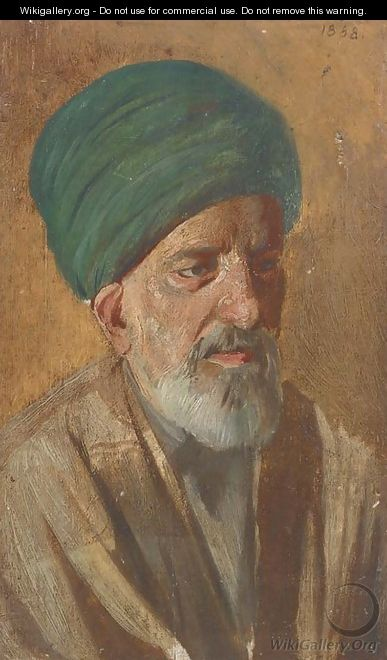 Portrait of an Arab, bust-length, in traditional dress - Cesare Biseo
