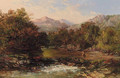 An angler in a wooded river landscape - Charles Branwhite