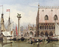 Sailingvessels moored by the Doge's Palace, Venice - Carl Friedrich H. Werner
