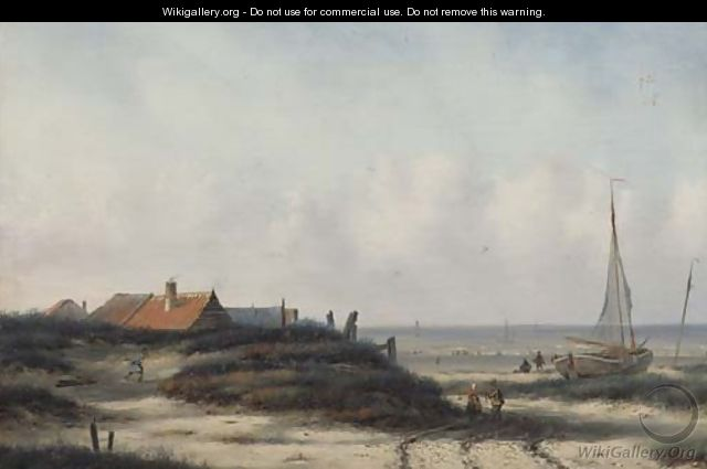 Fisherfolk by a village on the Dutch coast - Carl Eduard Ahrendts