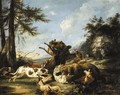 Bears and hounds fighting in a landscape - Carl Borromaus Andreas Ruthart