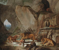 A lion and a tiger fighting over a fallen stag before a classical sarcophagus in a cave, a landscape with a pyramid beyond - Carl Borromaus Andreas Ruthart