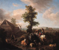 A peasant woman meeting a shepherd on a river bank in a summer landscape - Carel van Falens or Valens