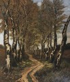 Birch trees along a lane - Carel Nicolaas Storm Van 's-Gravesande