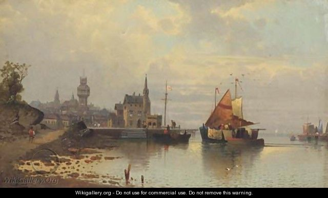 View of a harbour town at dusk - Karl Kaufmann