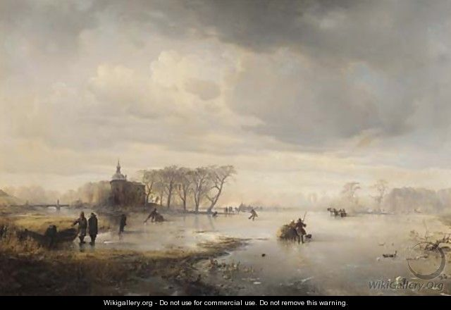 Skaters on a frozen lake, with a manor beyond - Carl Hilgers