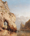 Fisherman on a rocky coast - Carl Joseph Kuwasseg