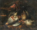 Partridge, a brace of teal, a bullfinch, a goldfinch, a bluetit and other dead birds in a landscape - Frans Luyckx