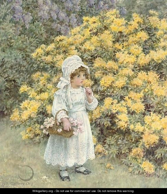 A little girl carrying a basket of flowers before an azalea bush - Caroline Paterson