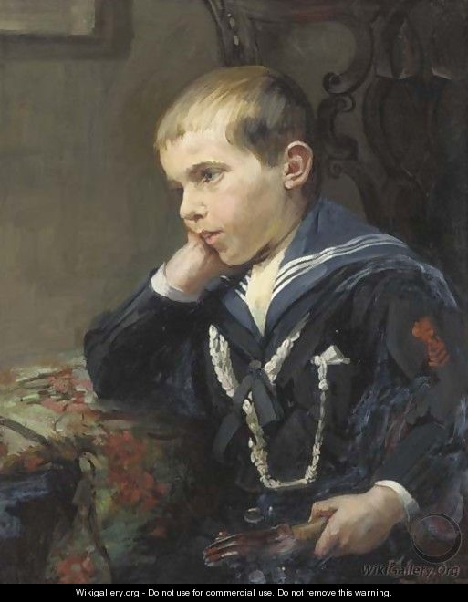 Portrait of a young boy, bust-length, in a sailor suit, holding a violin under his left arm - Jane Loudon
