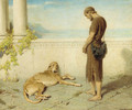 The dog, whom late had granted to behold his lord, when twenty tedious years had rolled takes a last look and having seen him dies - Briton Rivière