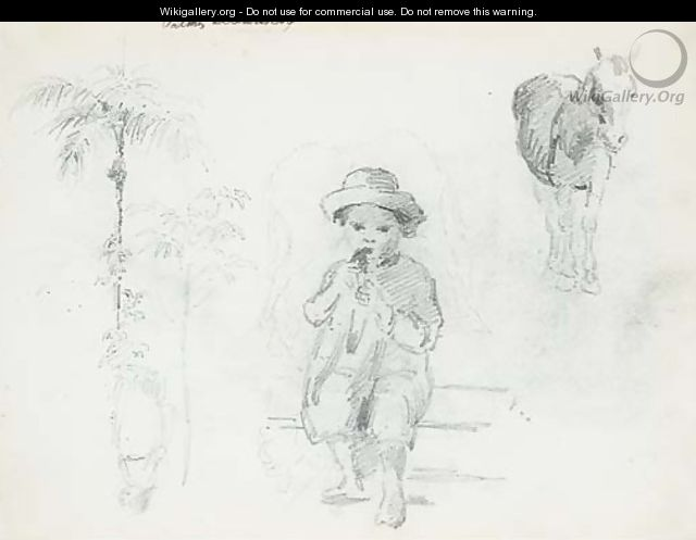A seated boy eating, with studies of horses, palm trees and another figure - Camille Pissarro