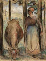 La Vachre (Young Peasant Woman and Cow) - Camille Pissarro