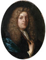 Portrait of a gentleman, aged 36, small bust-length, in a blue gown, with a full-bottomed wig - Carel de Moor
