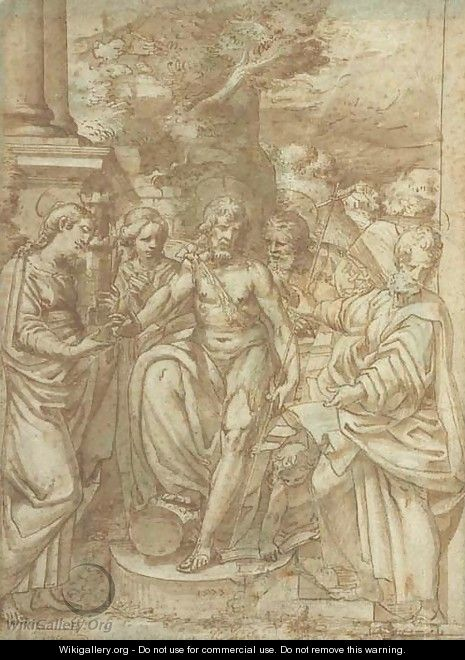 Saint John the Baptist flanked by Saint Barbara and other Saints - Camillo Procaccini