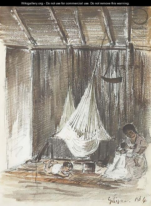The interior of a hut with a hammock and an Indian mother with her two children, Galipan - Camille Pissarro