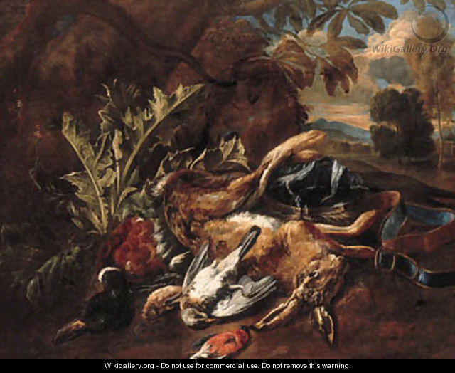 A hunting still life with a hare, a mallard and songbirds in a landscape - Bernaert De Bridt