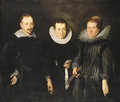 Group Portrait of Marchese Agostino di Tomaso Franzone, his wife, Camilla, nee Monsia di Bartolomeo, and their daughter, Maria Brigida - Bernardo Strozzi
