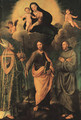 The Madonna and Child appearing to Saint Petronius of Bologna, the Apostle Saint James the Greater, and Saint Francis of Assisi - Biagio Pupini