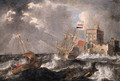 A Dutch threemaster and a wijdschip offshore in a gale, a fortified castle beyond - Bonaventura, the Elder Peeters