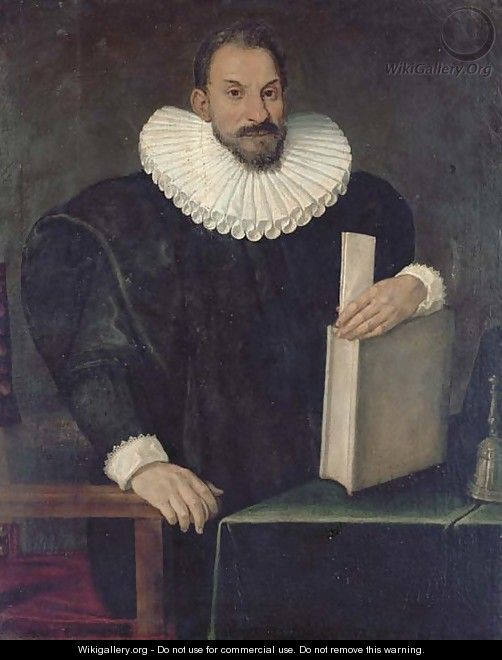Portrait of a gentleman, said to be Filippo Massini (1559-1617), standing, three-quarter-length, in a black costume with a millstone ruff - Bolognese School