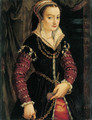 Portrait of a lady, traditionally identified as Madame Nobel, three-quarter-length, in a black dress with embroidered red sleeves - Bolognese School