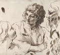 Heads of a boy, a girl and an old man, with a study of a foot and of the head of a girl - Bolognese School