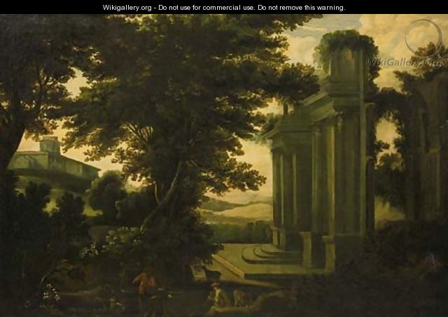 Shepherds by a classical ruin in an Italianate landscape - (after) Jakob Philippe Hackert