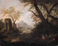 Gypsies on a river-bank in an Italianate landscape - (after) Francesco Zuccarelli