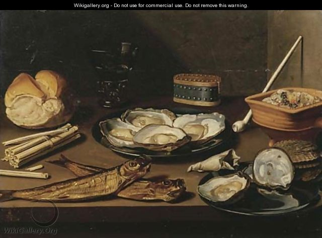 Pewter plates with opened oysters, two mackerel, a bun, oyster shells, a bag of tobacco, matches, a white clay pipe, a berkemeier of white wine - Floris Gerritsz. van Schooten