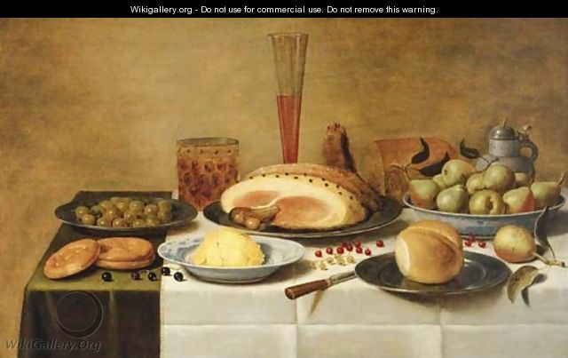 Mulberries, a ham and a bun on pewter plates, butter and pears on porcelain dishes with a beerglass, a flute and a knife on a draped table - Floris Gerritsz. van Schooten