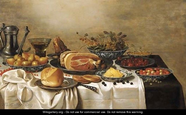 A pewter jug, a Berkemeyer, pears, peas and gooseberries, white currants, fraises-de-bois and butter in Wan-Li porcelain dishes, a leg of ham - Floris Gerritsz. van Schooten